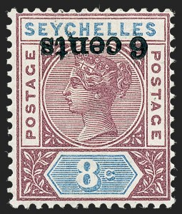 Sale Number 1236, Lot Number 2487, Seychelles thru Straits SettlementsSEYCHELLES, 1901, 6c on 8c Brown Violet & Ultramarine, Inverted Surcharge (32a; SG 40a), SEYCHELLES, 1901, 6c on 8c Brown Violet & Ultramarine, Inverted Surcharge (32a; SG 40a)