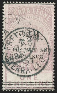 "Sale Number 1236, Lot Number 2488, Seychelles thru Straits SettlementsSIERRA LEONE, 1897, 2-1/2p on 1sh Lilac, Type ""b"" (57; SG 65), SIERRA LEONE, 1897, 2-1/2p on 1sh Lilac, Type ""b"" (57; SG 65)"