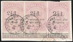 Sale Number 1236, Lot Number 2489, Seychelles thru Straits SettlementsSIERRA LEONE, 1897, 2-1/2p on 1sh Lilac (58, 59, 56; SG 66, 64, 63), SIERRA LEONE, 1897, 2-1/2p on 1sh Lilac (58, 59, 56; SG 66, 64, 63)
