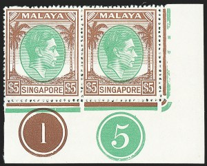 Sale Number 1236, Lot Number 2493, Seychelles thru Straits SettlementsSINGAPORE, 1949-52, 50c-$5.00 King George VI, Perf 18, Control Number Pairs (17a-20a; SG 27-30), SINGAPORE, 1949-52, 50c-$5.00 King George VI, Perf 18, Control Number Pairs (17a-20a; SG 27-30)