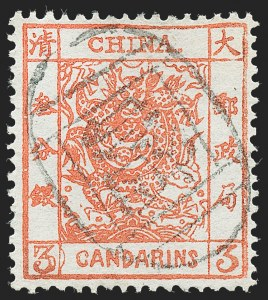 "Sale Number 1236, Lot Number 2557, China CHINA, 1883, 3c Vermilion, Thick Paper, Clean Cut Perfs, Semi-Circle at Right of Left ""3"" (8a var; Chan 8bc), CHINA, 1883, 3c Vermilion, Thick Paper, Clean Cut Perfs, Semi-Circle at Right of Left ""3"" (8a var; Chan 8bc)"