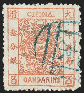 Sale Number 1236, Lot Number 2559, China CHINA, 1883, 3c Pale Red, Thick Paper, Rough Perfs, Retouched Bottom Frame (8c var; Chan 11a var), CHINA, 1883, 3c Pale Red, Thick Paper, Rough Perfs, Retouched Bottom Frame (8c var; Chan 11a var)