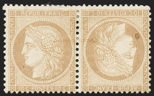 Sale Number 1236, Lot Number 2640, Finland thru FranceFRANCE, 1870, 10c Bister on Yellowish, Tete-Beche Pair (54a; Yvert 36b), FRANCE, 1870, 10c Bister on Yellowish, Tete-Beche Pair (54a; Yvert 36b)