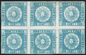 Sale Number 1236, Lot Number 2827, Uruguay 1858 First Issue - 120c and 180cURUGUAY, 1858, 120c Blue (4), URUGUAY, 1858, 120c Blue (4)