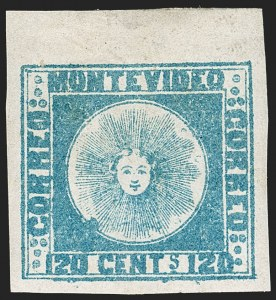 Sale Number 1236, Lot Number 2828, Uruguay 1858 First Issue - 120c and 180cURUGUAY, 1858, 120c Blue (4), URUGUAY, 1858, 120c Blue (4)