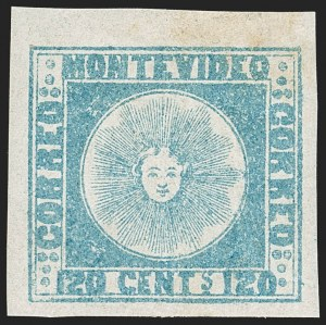 Sale Number 1236, Lot Number 2829, Uruguay 1858 First Issue - 120c and 180cURUGUAY, 1858, 120c Blue (4), URUGUAY, 1858, 120c Blue (4)