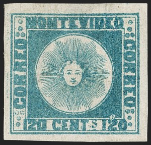 Sale Number 1236, Lot Number 2830, Uruguay 1858 First Issue - 120c and 180cURUGUAY, 1858, 120c Blue (4), URUGUAY, 1858, 120c Blue (4)