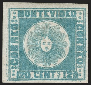 Sale Number 1236, Lot Number 2832, Uruguay 1858 First Issue - 120c and 180cURUGUAY, 1858, 120c Blue (4), URUGUAY, 1858, 120c Blue (4)