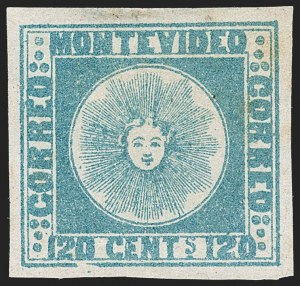 Sale Number 1236, Lot Number 2833, Uruguay 1858 First Issue - 120c and 180cURUGUAY, 1858, 120c Blue (4), URUGUAY, 1858, 120c Blue (4)