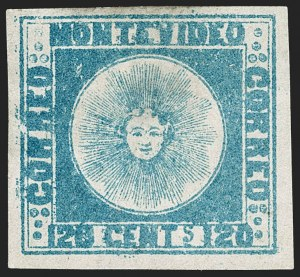 Sale Number 1236, Lot Number 2834, Uruguay 1858 First Issue - 120c and 180cURUGUAY, 1858, 120c Blue (4), URUGUAY, 1858, 120c Blue (4)