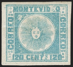 Sale Number 1236, Lot Number 2836, Uruguay 1858 First Issue - 120c and 180cURUGUAY, 1858, 120c Blue (4), URUGUAY, 1858, 120c Blue (4)
