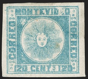 Sale Number 1236, Lot Number 2837, Uruguay 1858 First Issue - 120c and 180cURUGUAY, 1858, 120c Blue (4), URUGUAY, 1858, 120c Blue (4)