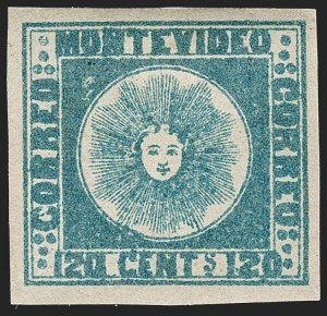 Sale Number 1236, Lot Number 2839, Uruguay 1858 First Issue - 120c and 180cURUGUAY, 1858, 120c Deep Blue (4a), URUGUAY, 1858, 120c Deep Blue (4a)
