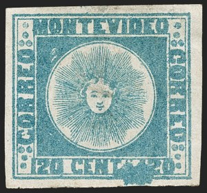 Sale Number 1236, Lot Number 2840, Uruguay 1858 First Issue - 120c and 180cURUGUAY, 1858, 120c Blue (4), URUGUAY, 1858, 120c Blue (4)