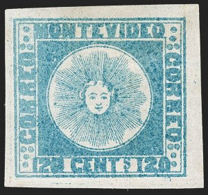 Sale Number 1236, Lot Number 2841, Uruguay 1858 First Issue - 120c and 180cURUGUAY, 1858, 120c Blue (4), URUGUAY, 1858, 120c Blue (4)