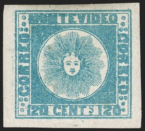 Sale Number 1236, Lot Number 2842, Uruguay 1858 First Issue - 120c and 180cURUGUAY, 1858, 120c Blue (4), URUGUAY, 1858, 120c Blue (4)