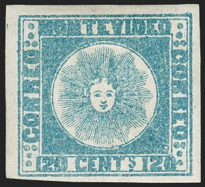 Sale Number 1236, Lot Number 2843, Uruguay 1858 First Issue - 120c and 180cURUGUAY, 1858, 120c Blue (4), URUGUAY, 1858, 120c Blue (4)