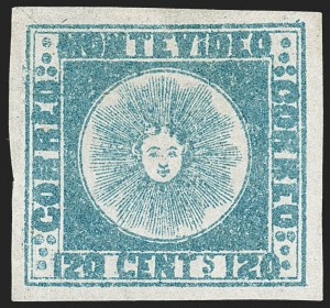 Sale Number 1236, Lot Number 2844, Uruguay 1858 First Issue - 120c and 180cURUGUAY, 1858, 120c Blue (4), URUGUAY, 1858, 120c Blue (4)
