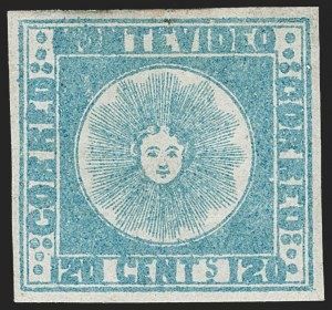 Sale Number 1236, Lot Number 2845, Uruguay 1858 First Issue - 120c and 180cURUGUAY, 1858, 120c Blue (4), URUGUAY, 1858, 120c Blue (4)