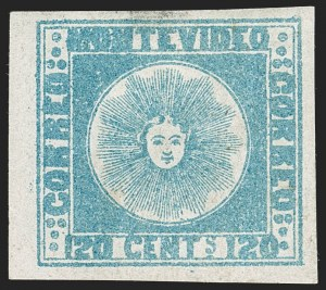 Sale Number 1236, Lot Number 2846, Uruguay 1858 First Issue - 120c and 180cURUGUAY, 1858, 120c Blue (4), URUGUAY, 1858, 120c Blue (4)