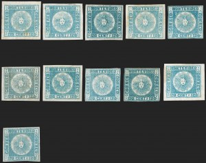 Sale Number 1236, Lot Number 2847, Uruguay 1858 First Issue - 120c and 180cURUGUAY, 1858, 120c Blue (4), URUGUAY, 1858, 120c Blue (4)