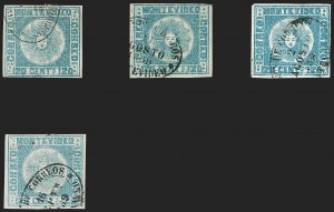 Sale Number 1236, Lot Number 2848, Uruguay 1858 First Issue - 120c and 180cURUGUAY, 1858, 120c Blue (4), URUGUAY, 1858, 120c Blue (4)
