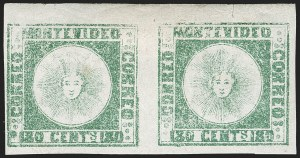 Sale Number 1236, Lot Number 2850, Uruguay 1858 First Issue - 120c and 180cURUGUAY, 1858, 180c Pale Green (5b), URUGUAY, 1858, 180c Pale Green (5b)
