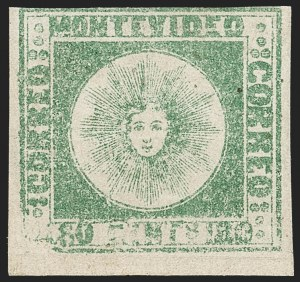 Sale Number 1236, Lot Number 2851, Uruguay 1858 First Issue - 120c and 180cURUGUAY, 1858, 180c Green (5), URUGUAY, 1858, 180c Green (5)