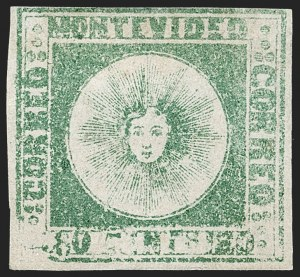 Sale Number 1236, Lot Number 2852, Uruguay 1858 First Issue - 120c and 180cURUGUAY, 1858, 180c Green (5), URUGUAY, 1858, 180c Green (5)