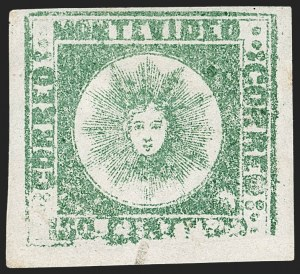 Sale Number 1236, Lot Number 2853, Uruguay 1858 First Issue - 120c and 180cURUGUAY, 1858, 180c Green (5), URUGUAY, 1858, 180c Green (5)