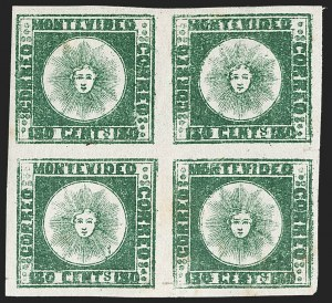 Sale Number 1236, Lot Number 2855, Uruguay 1858 First Issue - 120c and 180cURUGUAY, 1858, 180c Dark Green (5a), URUGUAY, 1858, 180c Dark Green (5a)
