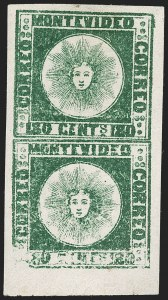Sale Number 1236, Lot Number 2856, Uruguay 1858 First Issue - 120c and 180cURUGUAY, 1858, 180c Dark Green (5a), URUGUAY, 1858, 180c Dark Green (5a)