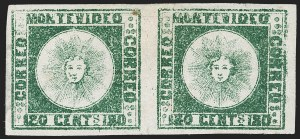 Sale Number 1236, Lot Number 2857, Uruguay 1858 First Issue - 120c and 180cURUGUAY, 1858, 180c Dark Green (5a), URUGUAY, 1858, 180c Dark Green (5a)