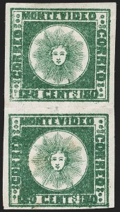 Sale Number 1236, Lot Number 2858, Uruguay 1858 First Issue - 120c and 180cURUGUAY, 1858, 180c Dark Green (5a), URUGUAY, 1858, 180c Dark Green (5a)