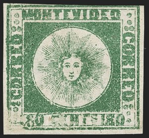 Sale Number 1236, Lot Number 2859, Uruguay 1858 First Issue - 120c and 180cURUGUAY, 1858, 180c Dark Green (5a), URUGUAY, 1858, 180c Dark Green (5a)