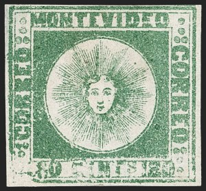 Sale Number 1236, Lot Number 2860, Uruguay 1858 First Issue - 120c and 180cURUGUAY, 1858, 180c Dark Green (5a), URUGUAY, 1858, 180c Dark Green (5a)