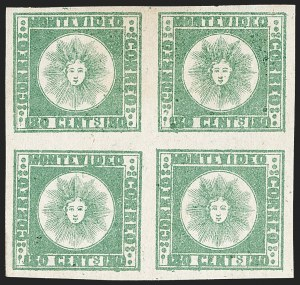 Sale Number 1236, Lot Number 2861, Uruguay 1858 First Issue - 120c and 180cURUGUAY, 1858, 180c Green, Thick Paper (5c), URUGUAY, 1858, 180c Green, Thick Paper (5c)