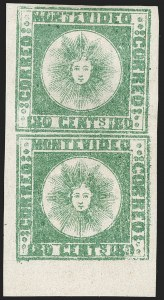 Sale Number 1236, Lot Number 2862, Uruguay 1858 First Issue - 120c and 180cURUGUAY, 1858, 180c Green, Thick Paper (5c), URUGUAY, 1858, 180c Green, Thick Paper (5c)