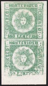 Sale Number 1236, Lot Number 2863, Uruguay 1858 First Issue - 120c and 180cURUGUAY, 1858, 180c Green, Thick Paper (5c), URUGUAY, 1858, 180c Green, Thick Paper (5c)