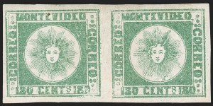 Sale Number 1236, Lot Number 2864, Uruguay 1858 First Issue - 120c and 180cURUGUAY, 1858, 180c Green, Thick Paper (5c), URUGUAY, 1858, 180c Green, Thick Paper (5c)
