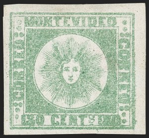 Sale Number 1236, Lot Number 2866, Uruguay 1858 First Issue - 120c and 180cURUGUAY, 1858, 180c Green, Thick Paper (5c), URUGUAY, 1858, 180c Green, Thick Paper (5c)