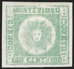 Sale Number 1236, Lot Number 2867, Uruguay 1858 First Issue - 120c and 180cURUGUAY, 1858, 180c Pale Green, Thick Paper (5c), URUGUAY, 1858, 180c Pale Green, Thick Paper (5c)