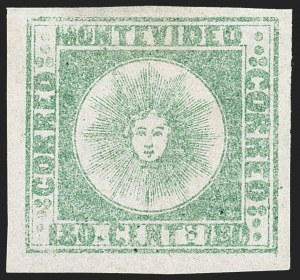 Sale Number 1236, Lot Number 2868, Uruguay 1858 First Issue - 120c and 180cURUGUAY, 1858, 180c Pale Green, Thick Paper (5c), URUGUAY, 1858, 180c Pale Green, Thick Paper (5c)