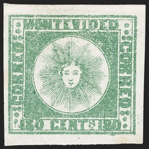 Sale Number 1236, Lot Number 2869, Uruguay 1858 First Issue - 120c and 180cURUGUAY, 1858, 180c Green, Thick Paper (5c), URUGUAY, 1858, 180c Green, Thick Paper (5c)