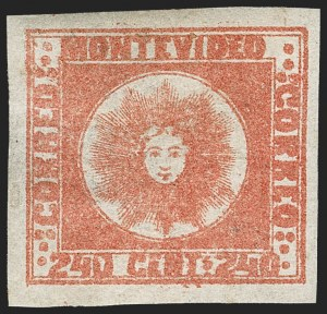 Sale Number 1236, Lot Number 2878, Uruguay 1858 First Issue - 240c and Sperati ReproductionsURUGUAY, 1858, 240c Dull Vermilion (6), URUGUAY, 1858, 240c Dull Vermilion (6)