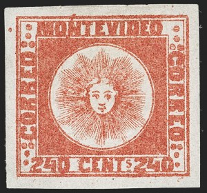 Sale Number 1236, Lot Number 2880, Uruguay 1858 First Issue - 240c and Sperati ReproductionsURUGUAY, 1858, 240c Deep Vermilion (6), URUGUAY, 1858, 240c Deep Vermilion (6)