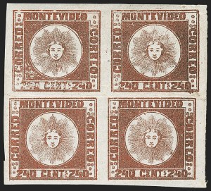 Sale Number 1236, Lot Number 2882, Uruguay 1858 First Issue - 240c and Sperati ReproductionsURUGUAY, 1858, 240c Brown Red (6b), URUGUAY, 1858, 240c Brown Red (6b)