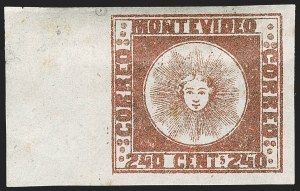 Sale Number 1236, Lot Number 2884, Uruguay 1858 First Issue - 240c and Sperati ReproductionsURUGUAY, 1858, 240c Brown Red, Se-Tenant with Blank Space (6b variety), URUGUAY, 1858, 240c Brown Red, Se-Tenant with Blank Space (6b variety)