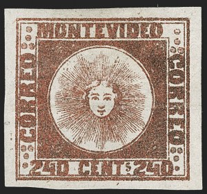 Sale Number 1236, Lot Number 2885, Uruguay 1858 First Issue - 240c and Sperati ReproductionsURUGUAY, 1858, 240c Brown Red (6b), URUGUAY, 1858, 240c Brown Red (6b)