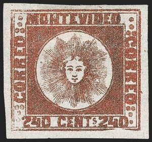 Sale Number 1236, Lot Number 2886, Uruguay 1858 First Issue - 240c and Sperati ReproductionsURUGUAY, 1858, 240c Brown Red (6b), URUGUAY, 1858, 240c Brown Red (6b)
